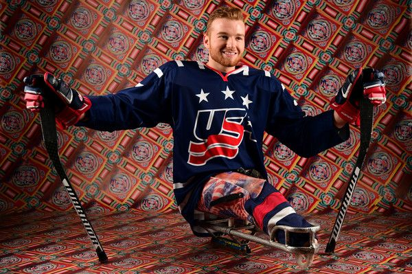 Paralympic ice sledge hockey player Declan Farmer poses for a portrait during the Team USA PyeongChang 2018 Winter Olympics portraits on April 29, 2017 in West Hollywood, California.