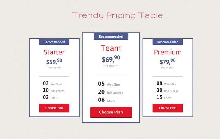 Trendy Pricing Table Responsive Widget Template - w3layouts.com