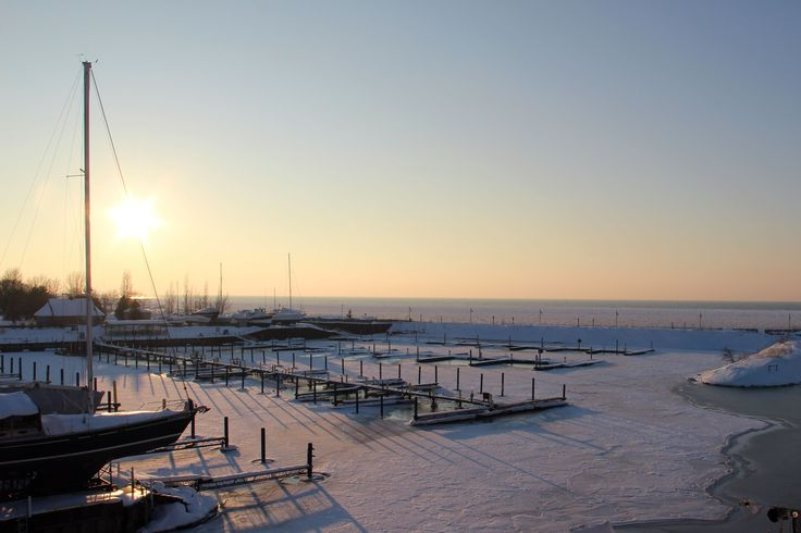 The harbour in winter at Kincardine, Ontario