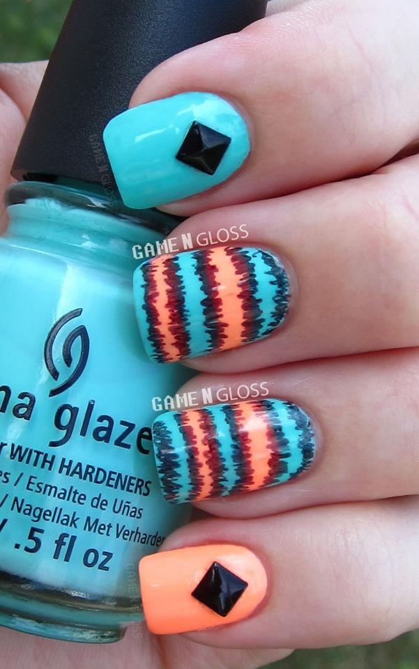 neon sharpie summer nails  - IG @GameNGloss