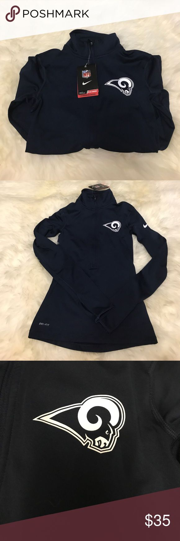 NIKE NFL Los Angeles Rams navy half zip pullover New with tags Nike Tops