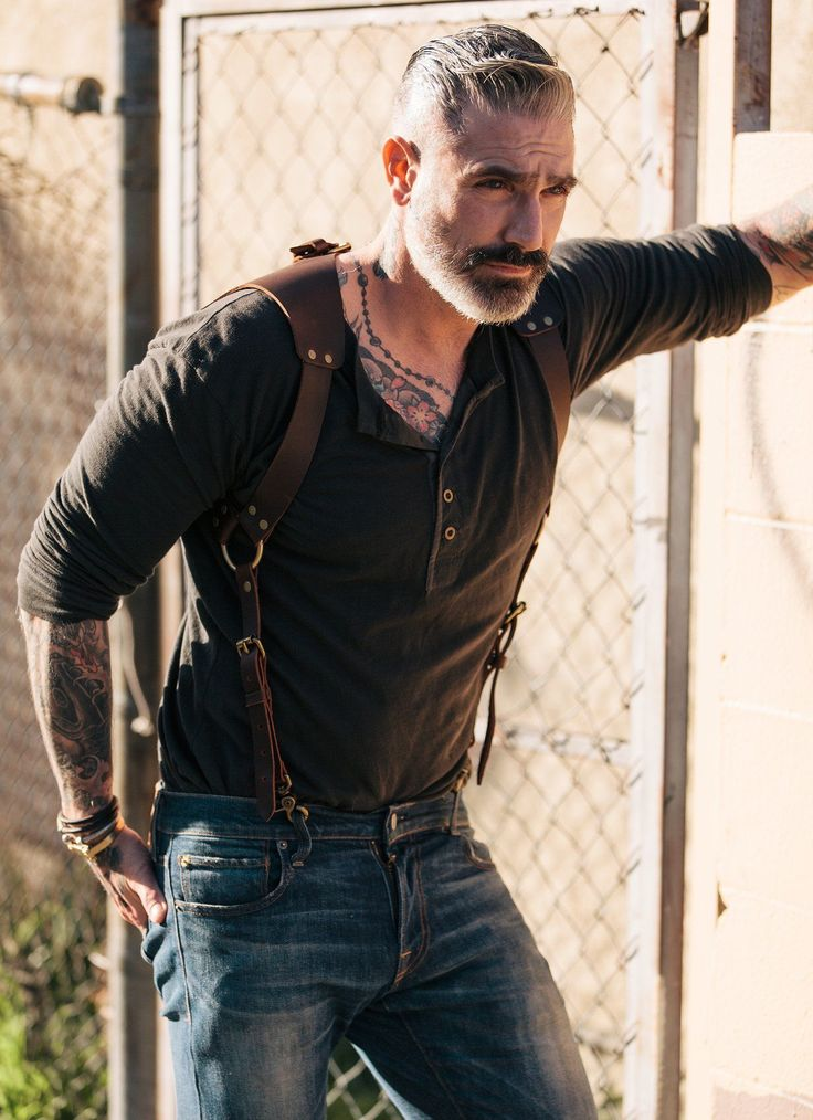 Leather Suspenders - Saddle Back Holster. men's fall looks. men's fashion and street style #MensFashionSuspenders #MensFashionFall