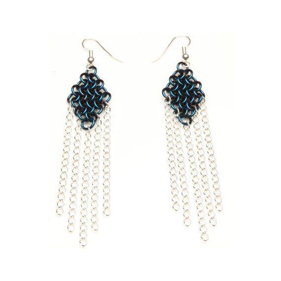 Blue Enameled Copper European 4-in-1 #Chainmaille Earrings. #handmade