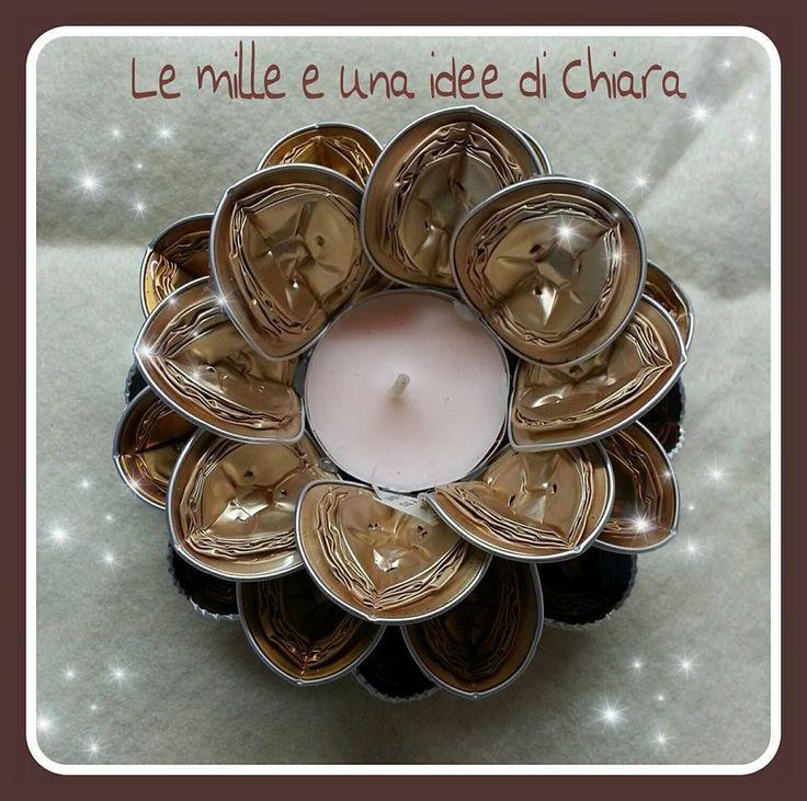 Portacandela con capsule Nespresso www.facebook.com/lemilleeunaideedichiara