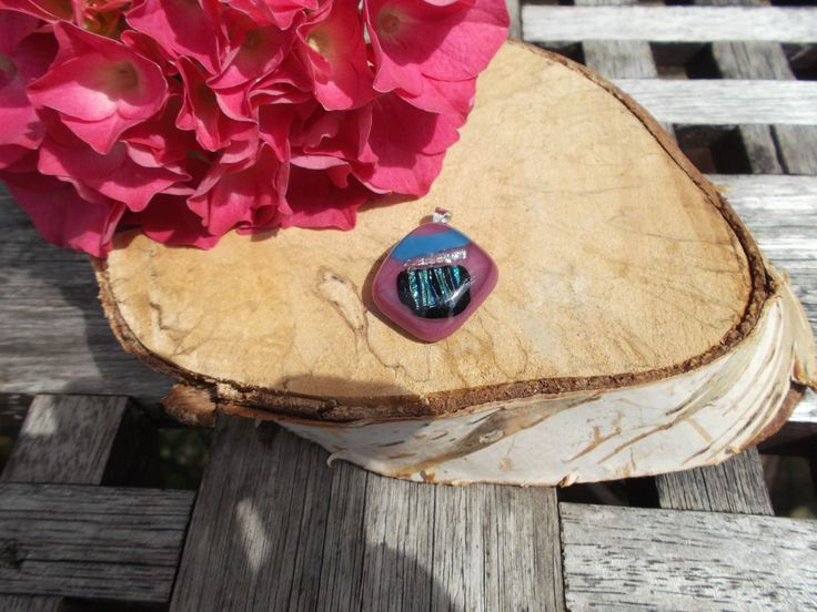 Pink fused glass pendant with added colourful dichroic handcut ready to wear by deblizaccessories on Etsy