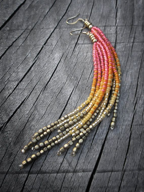 Neon Rainbow Fringe Earrings, Seed Bead Fringe, Summer Jewelry, Hot Pink, Neon Orange, Bright Yellow, Gold, Brass, Playful, Vibrant, OOAK. $22.00, via Etsy.