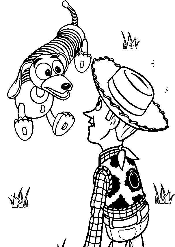 Toy story coloring pages 45 pinterest for Dog bed coloring pages