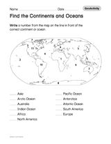 Find the Continents and Oceans (Geography Printable, 1st-8th Grade) https://www.teachervision.com/geography/printable/50230.html Challenge students to locate and label the continents and oceans on a world map.  #geography #printables