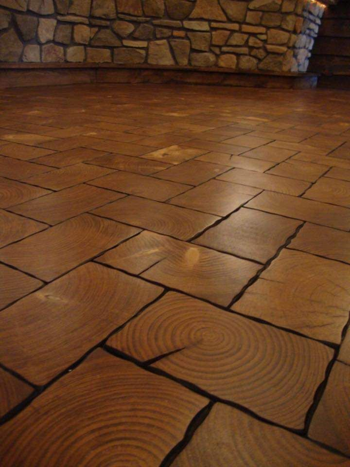 End Grain Wooden Floor From 2x4 Www Harrisonwoodwork Com Flooring Wood Floors Rustic Wood Floors