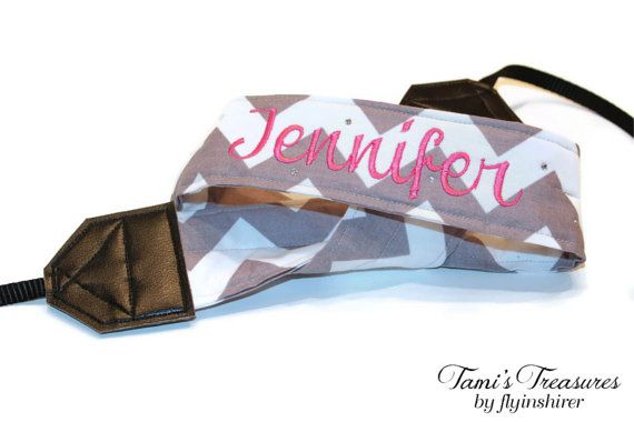 Personalized Camera Strap Chevron Gray White by flyinshirer, $25.00 -- I really really love the idea of one with my name on it. :)