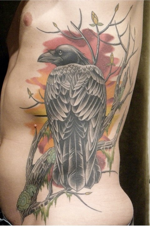 60 mysterious raven tattoos watercolors the o 39 jays and for Raven bird tattoo