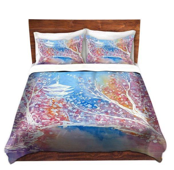 Duvet Set Cherry Blossom Painting - Nature Modern Bedding - Queen Size Duvet Cover - King Size Duvet Cover