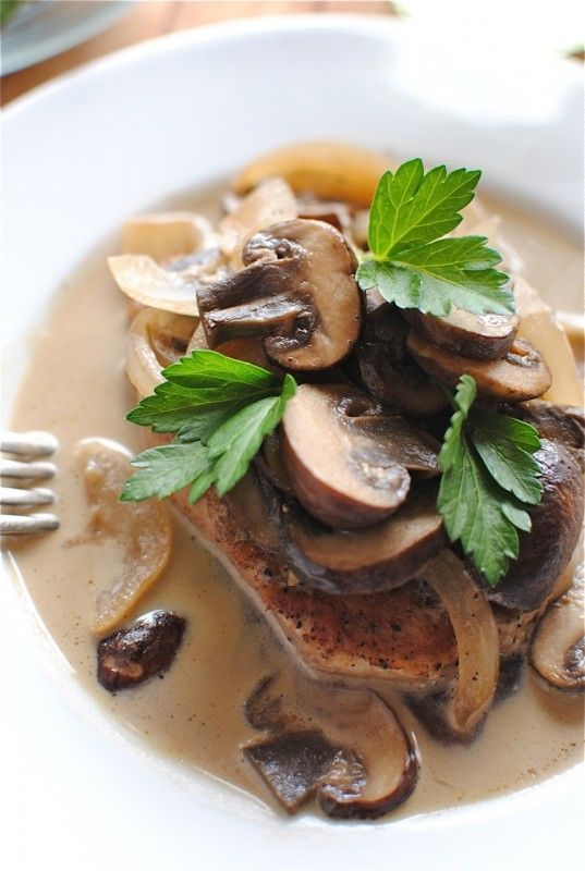 Pork Chops and Mushrooms in a White Wine Sauce - Bev Cooks