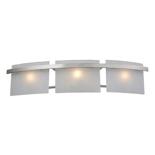 """Elk 11282/3 Briston 3-Light Vanity In Satin Nickel by Elk. $190.00. From the Manufacturer                The Briston Vanity Collection has a geometric square shade  which is perfect for modern designing. Each fixture has a Satin Nickel finish with frosted white shades and includes 40 watt G9 bulbs.                                    Product Description                Elk Lighting 11282/3 Briston Vanity Vanity W:27"""" H: 6"""" E: 5"""" Satin Nickel. Save 32%!"""