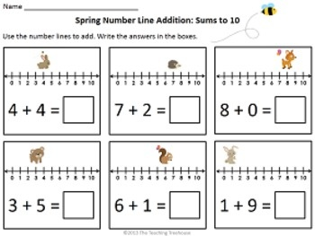 Adding and subtracting with spring number line fun! 6 pages of addition practice(sums to 10), and 6 pages of subtraction practice(numbers to 10). 6 problems per page. Color and black & white copies included. $