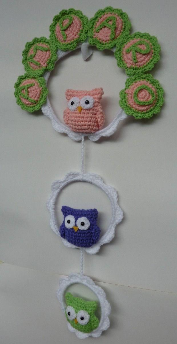 cartel de nacimiento con nombre - diseño original al crochet