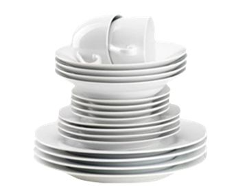 Features/Specifications Product code: RHP01 Super white porcelain 20pce dinner set - rim-shaped Dishwasher safe Consists of: 4 Dinner plates 4 Side plates 4 Soup bowls 4 Tea cups 4 saucers Dishwasher safe & microwavable