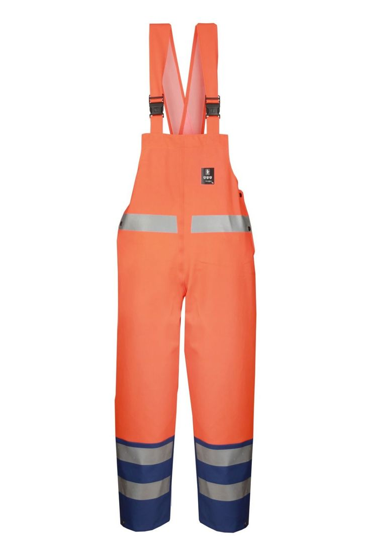 WATERPROOF WARNING BIBPANTS Model: 891R The bibpants 2 colours have adjustable elasticated braces. Reflective tape on bibpants make workers more visible. The model is made on 2 waterproof fabrics called Plavitex and Plavitex Fluo and it has been designed to be used at unfavorable weather conditions where visibility is limited. Thanks to double welded high frequency seams the product protects against rain and wind. The bibpants conform to EN ISO 13688, EN 343 and EN ISO 20471 standards.