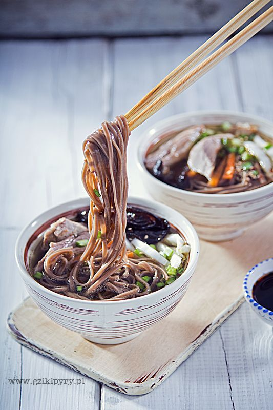 Duck soup with soba noodles