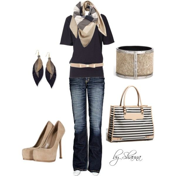 Casual Outfits | Navy blue tunic with blue and cream Burberry scarf