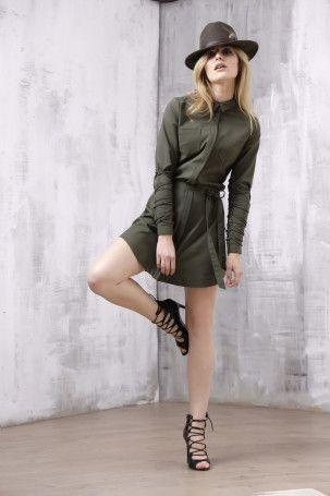 Khaki shirt dress from lace-me-up collection - malubi.co