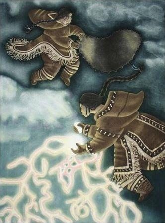 """The Sisters' Story"" by Inuit artist Germaine Arnaktauyok from Igloolik, Nunavut"