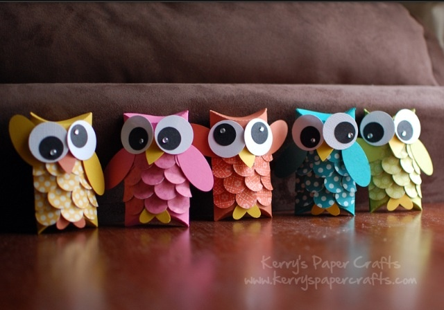 Owls made of toilet paper rolls❤