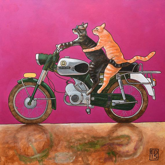 214 Zündapp Cats - signed and numbered giclee print 14 x 14 cm / 5.5 x 5.5 inch