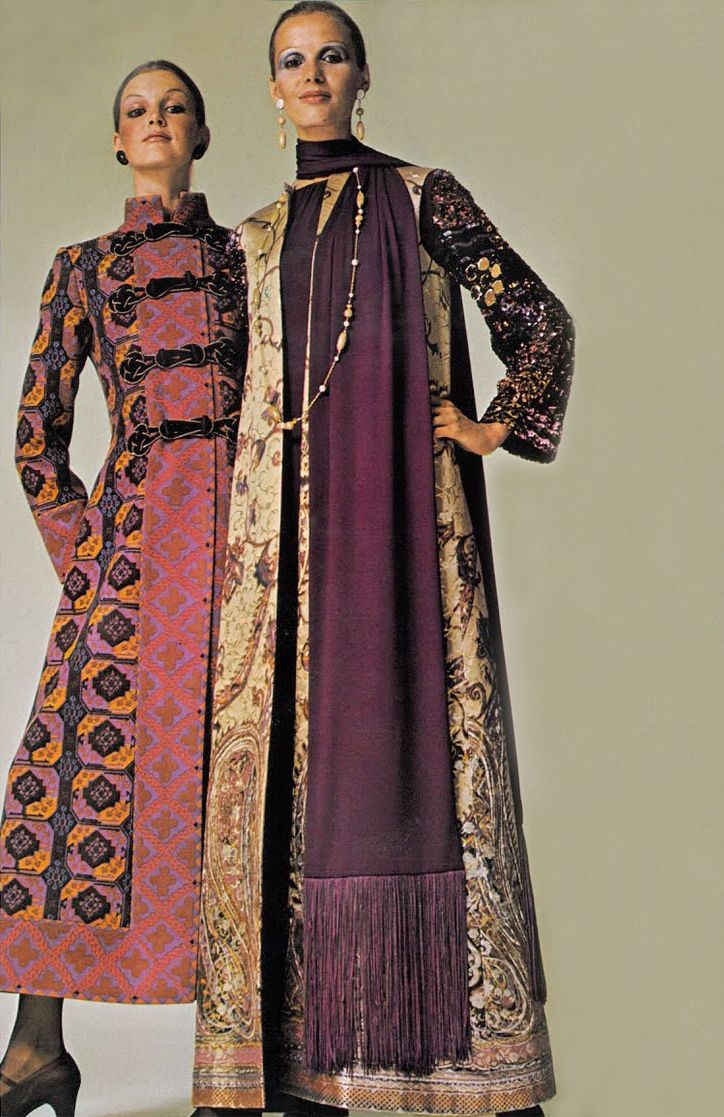 Saint Laurent's frogged hussar coat and Dior's evening coat Vogue September 1969