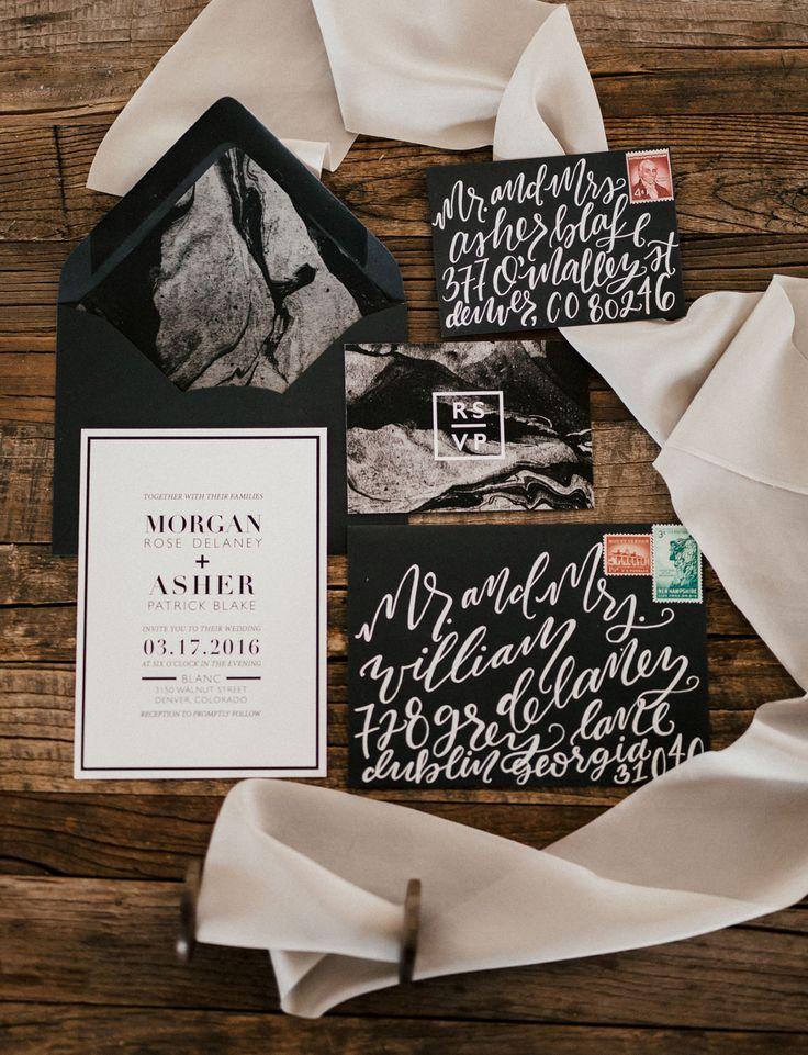 Black, marbled calligraphy wedding invitation.  Planning: @m.socialco Photo: @cassierosch Calligraphy: @bezalelandbabel Ribbon: @silkandwillow