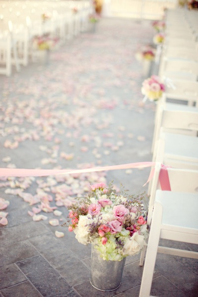 Wide aisle, soft petals and tinsAisle Decorations, Ideas, Ceremonies, Wedding Aisle, Floral Design, Tins, Flower, Rose Petals, Aisledecor