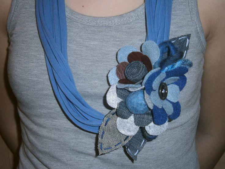 felt and denim necklace