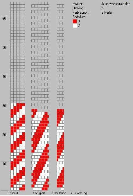 Simple tubular bead crochet diagram. 5 beads, 6 pattern