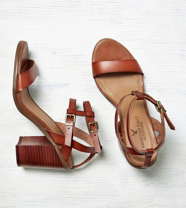Cognac AEO Strappy Stacked Heel Sandal. Perfect for spring.