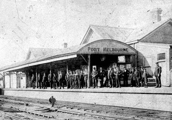 Port Melbourne train station, circa 1890.