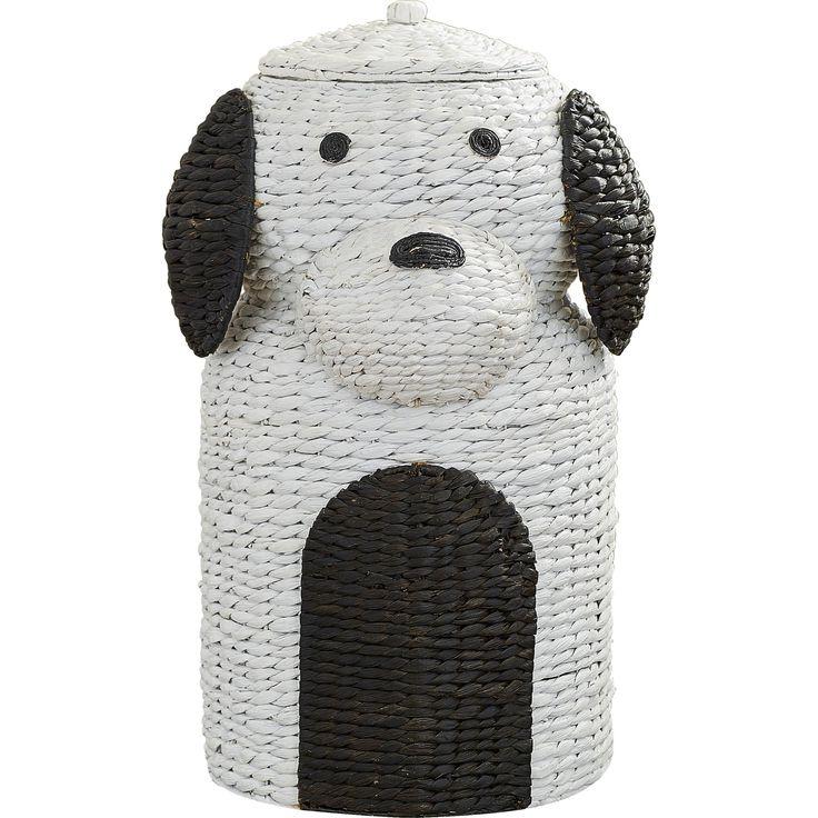 Puppy Power Wicker Laundry Hamper Basket
