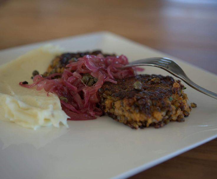 Lentil Patties, Horseradish Mash & Caramelised onions