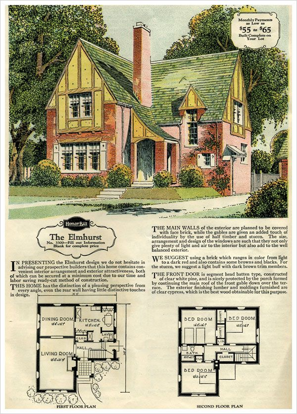 1929 Sears Brick Veneer   The Elmhurst These old home plans are so fun to  look at  LOVE the  swoopy  roof. 234 best Sears kit homes images on Pinterest   Kit homes  Vintage