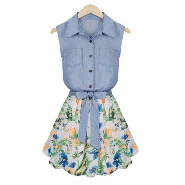 Blue Sleeveless Bowknot Contrast Chiffon Denim Dress