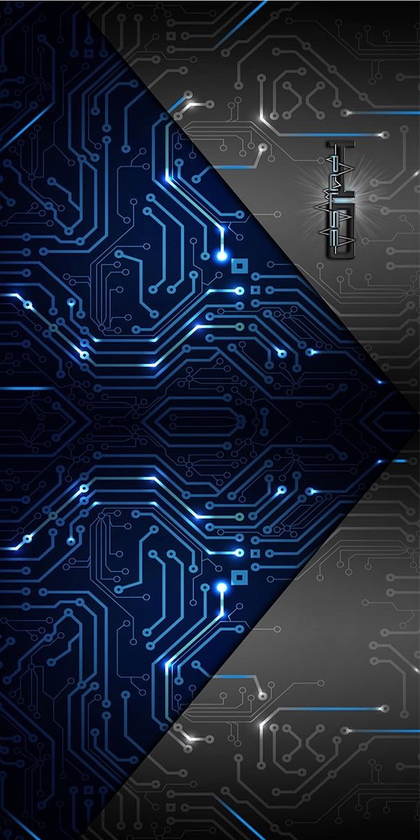 Blue and Grey Circuit Wallpaper