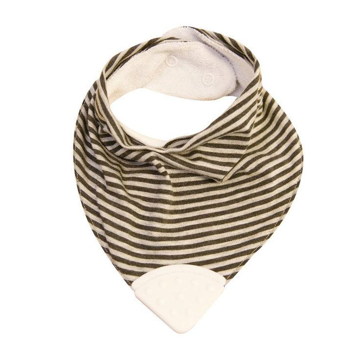 Teether Bib - Grey/Black Pinstripe - Clothing - Baby Belle
