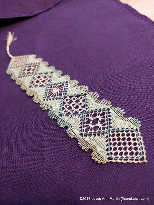 """Torchon Hearts Bookmark"" Pattern by Louise Colgan Worked by Joyce Ann Martin, 2016 Bobbin Lace"