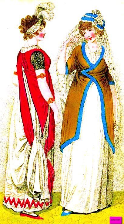 1800 April Full Dress For a Dancing Dress and a Walking Dress, English. White evening dress worn under a red tunic to match the zigzag trim on the dress hem and the red shoes, long white gloves, plumed white evening headdress, and matching jewelry. White