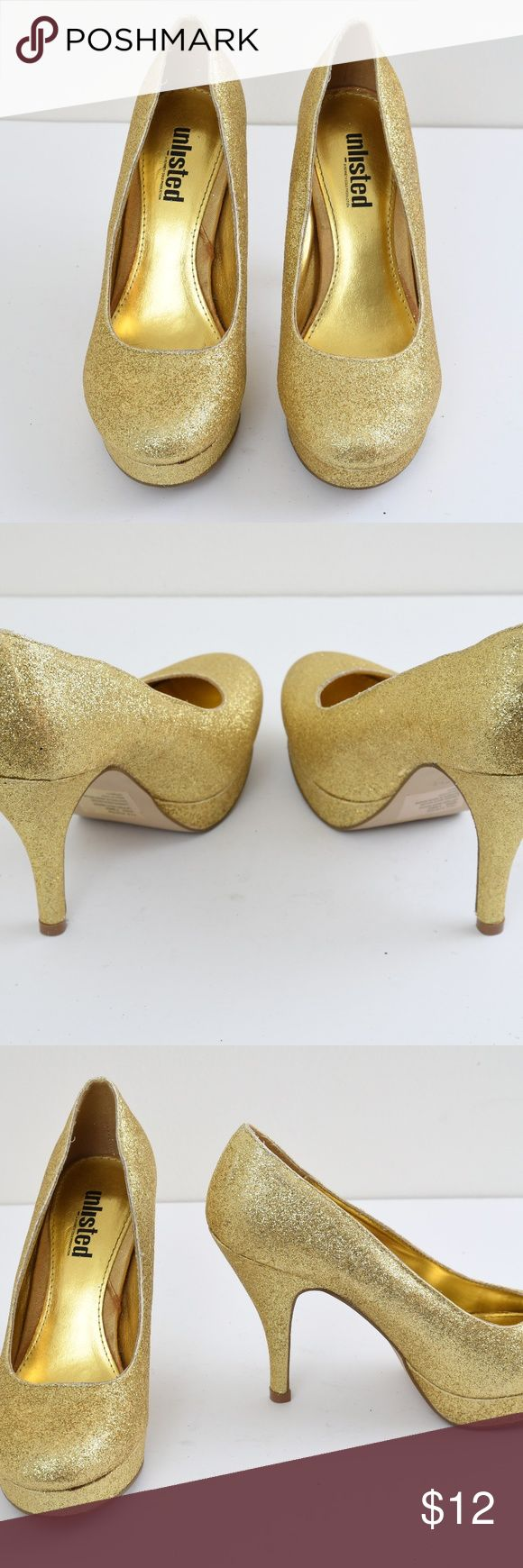 {Unlisted} Gold Sparkle Heels Size 7M Pre-owned and in great condition. Minor scuff and wear. Item sold as is. Unlisted by Kenneth Cole Shoes Heels