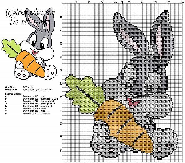 手机壳定制wrap around sunglasses over glasses Baby Bugs Bunny with carrot Looney Tunes cartoons character free cross stitch pattern