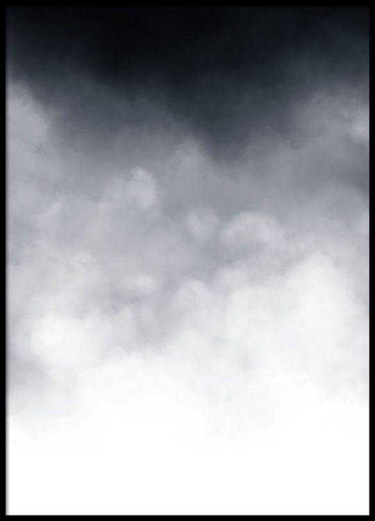 Flot sort-hvid kunstplakat med sky