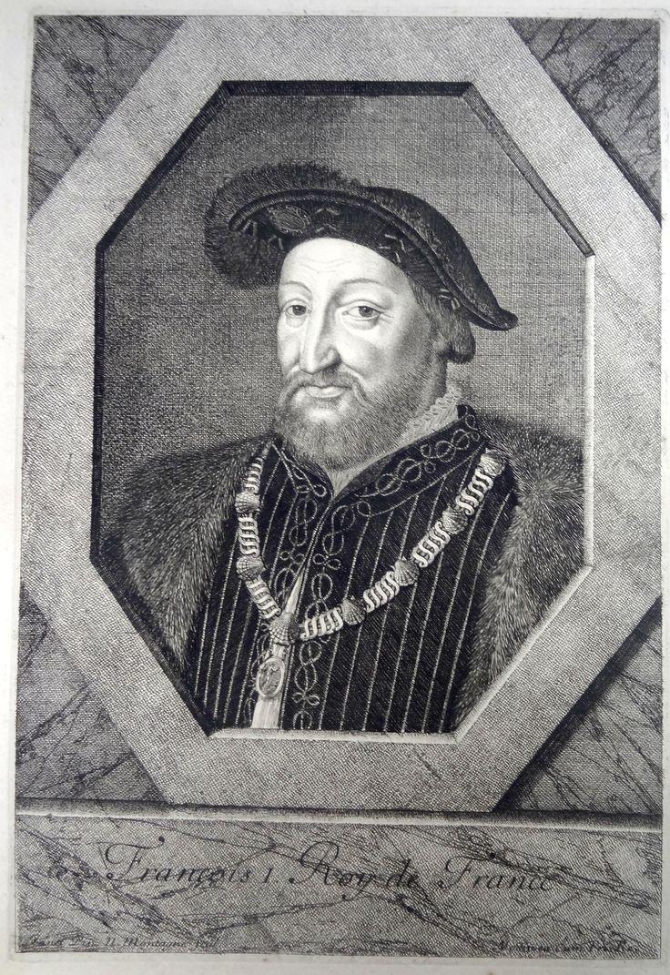 François 1er (1494-1547) Roi de France en 1515 - d'après Jean Clouet dit Janet - gravé par N. Montagne - édité par Morin