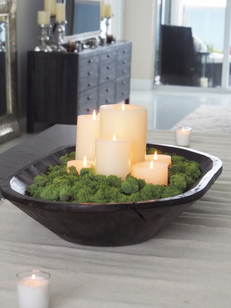 Spring greens & Candles - Decorating With Dough Bowls
