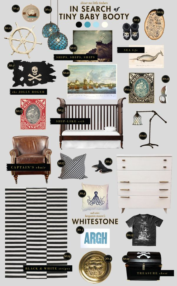 pirate nursery style board inspiration... auden's room needs a makeover and i'm really feeling this!