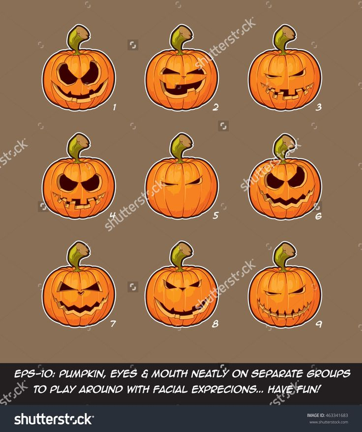 Vector Icons Of Jack O Lantern In 9 Mean, Playful N Naughty Expressions. Each Expression On Separate Layer; Pumpkin, Eyes & Mouth On Separate Groups For Further Exploration Of Facial Expressions. - 463341683 : Shutterstock